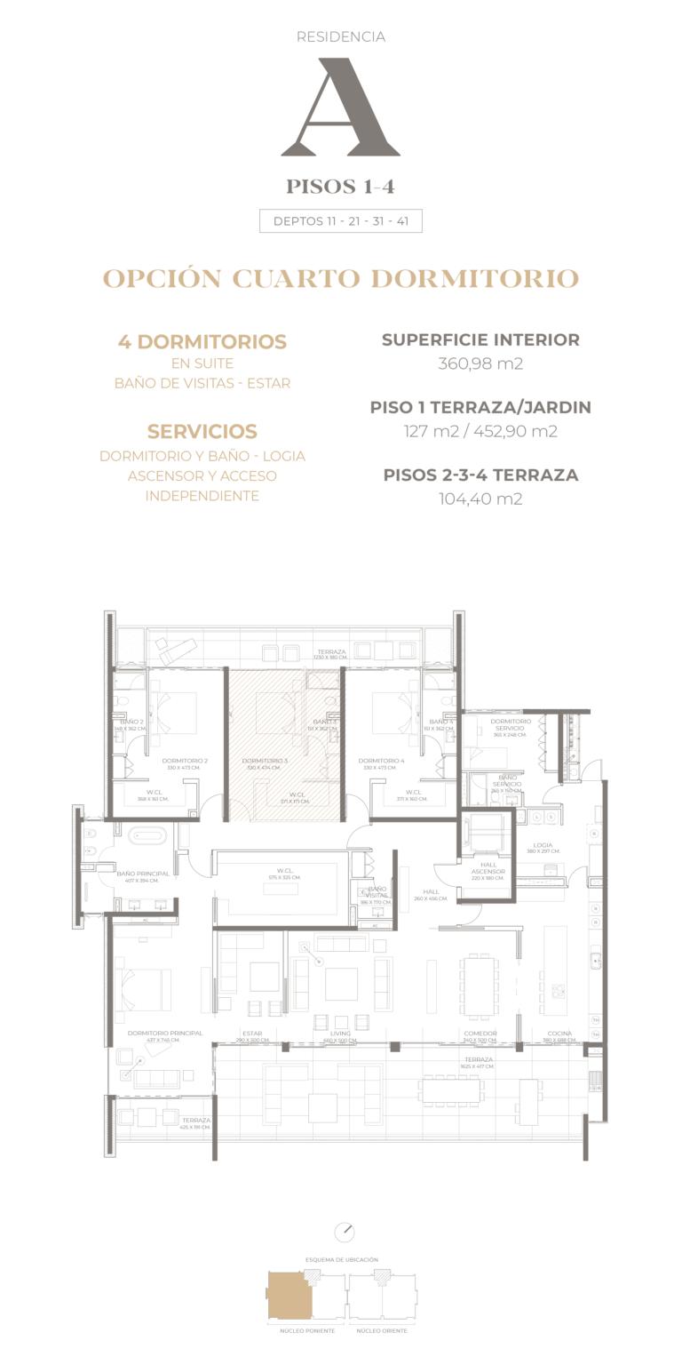 Cumbres de Santa María - Plano Tipo A pisos 1-2-3-4 opción 4D