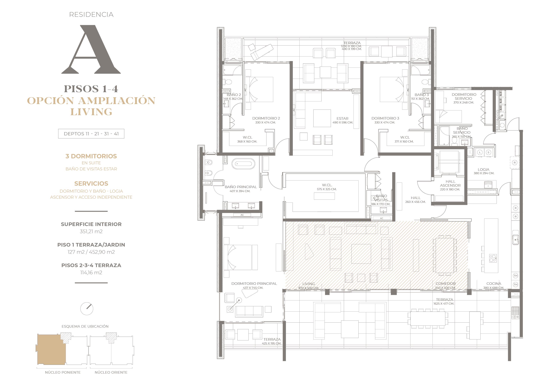 Cumbres de Santa María - Plano Tipo A pisos 1-2-3-4 opción living