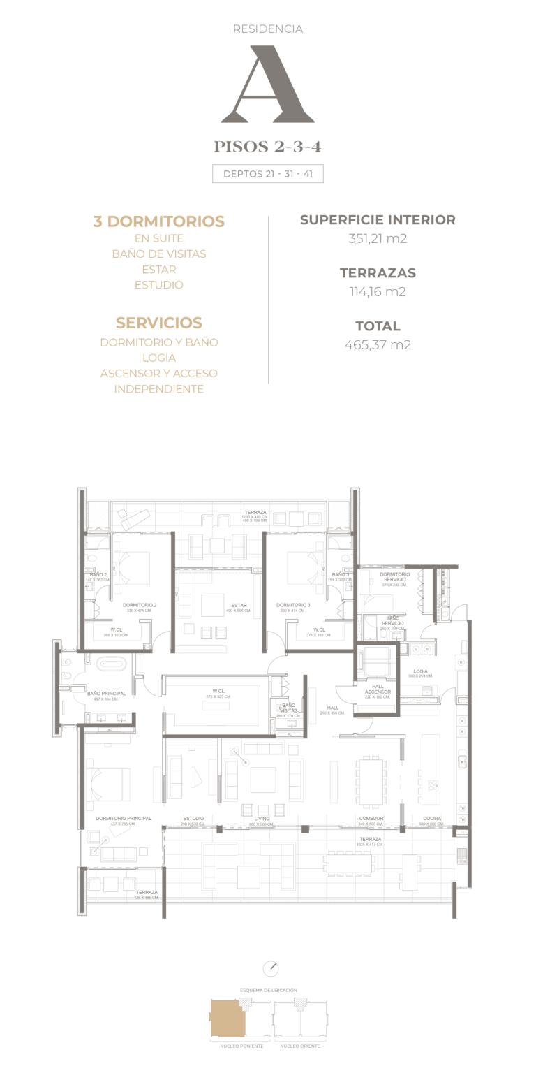 Cumbres de Santa María - Plano Tipo A pisos 2-3-4