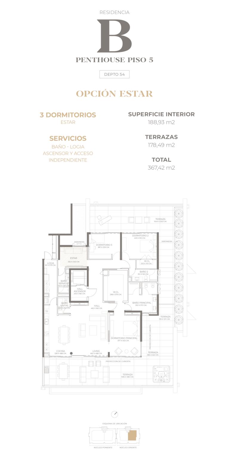 Cumbres de Santa María - Plano Tipo B Penthouse opción estar