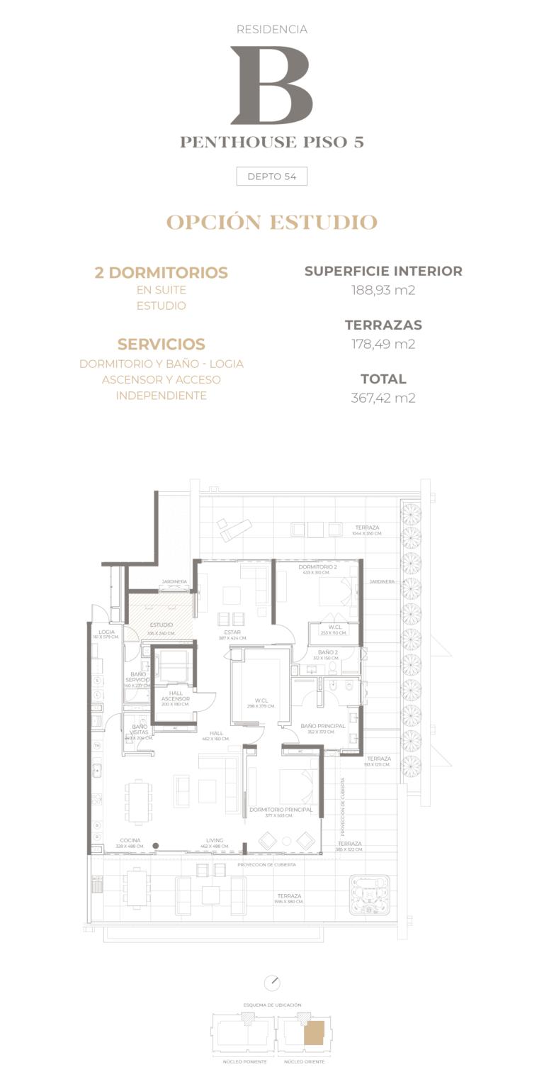 Cumbres de Santa María - Plano Tipo B Penthouse opción estudio