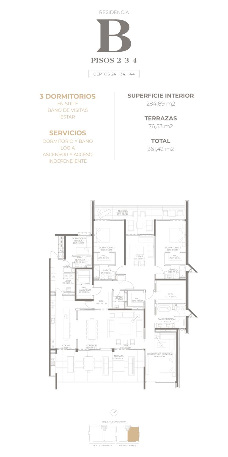 Cumbres de Santa María - Plano Tipo B piso 2-3-4