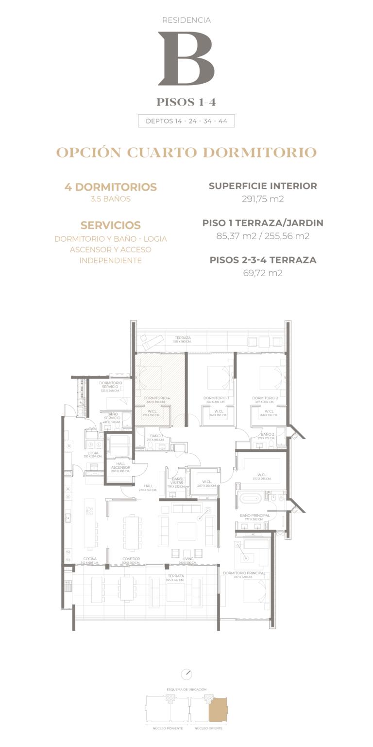 Cumbres de Santa María - Plano Tipo B pisos 1-2-3-4 opción 4D