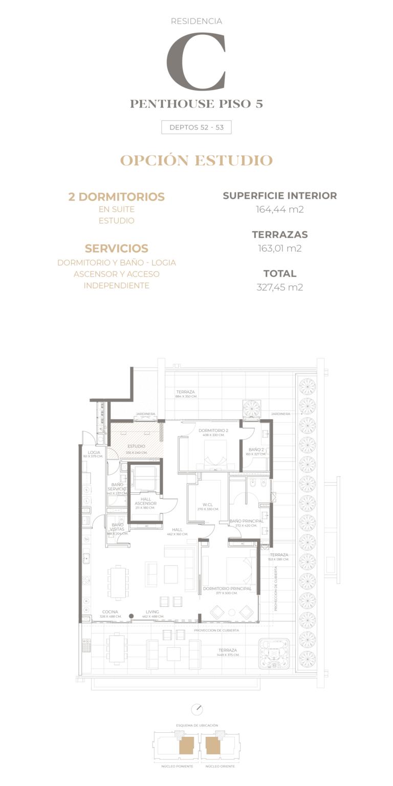Cumbres de Santa María - Plano Tipo C Penthouse opción estudio