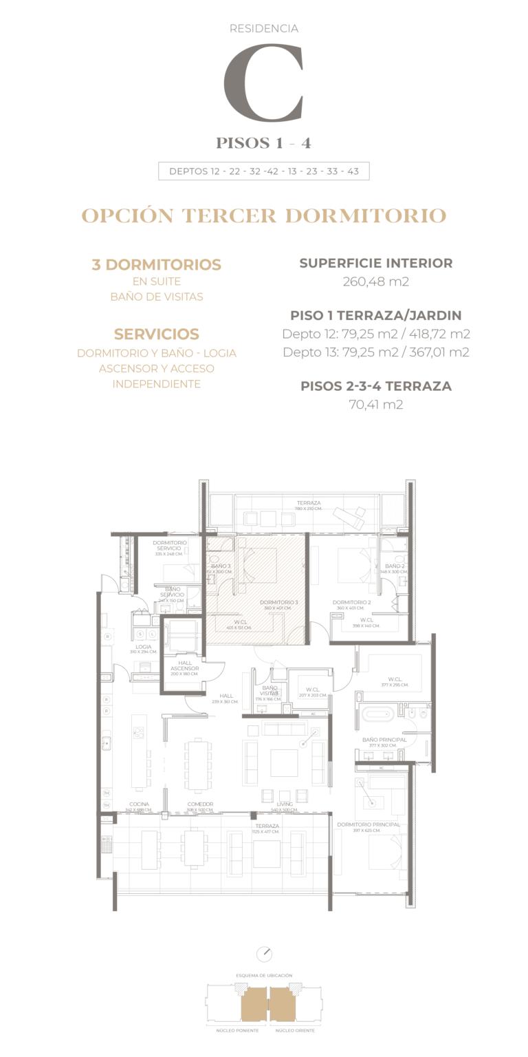 Cumbres de Santa María - Plano Tipo C pisos 1-2-3-4 opción 3D