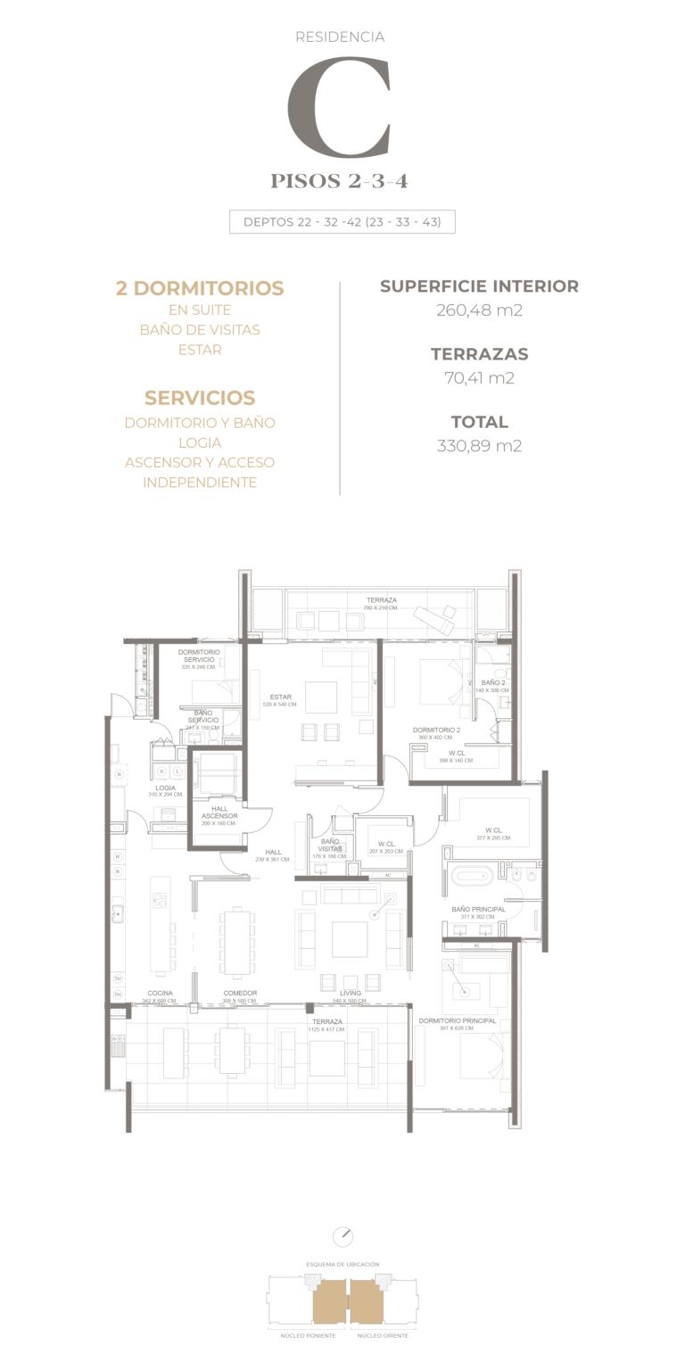 Cumbres de Santa María - Plano Tipo C pisos 2-3-4